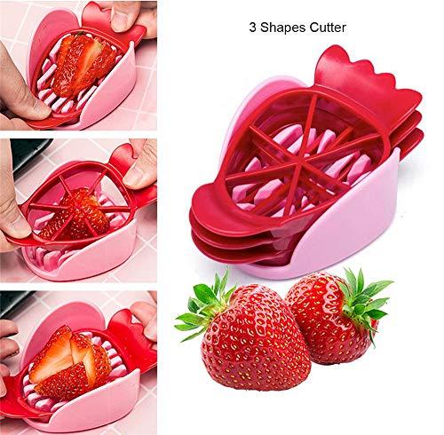 3 Pcs Fraise Section Trancheuse De Cuisine Cutter Gadgets De Cuisine Outil Mini Trancheuse Cut Joie Lame en Acier Inoxydable Craft Outils De Fruits