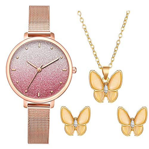JZDH Women Watches Business Casual Quartz Watch With Necklace Earrings Ladies Jewelry Gift Perfect Design Watch Ladies Girls Casual Decorative Watches (Color : C)