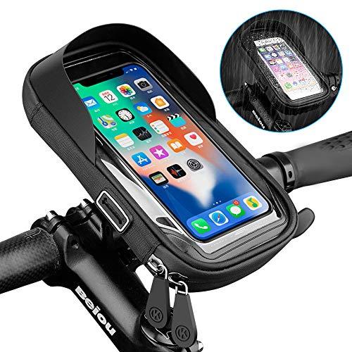 yidenguk Wasserdicht Fahrradlenkertasche Handyhalterung Handyhalter Fahrrad Tasche Fahrradtasche Rahmentaschen für Handy GPS Navi und andere Edge bis zu 6.4 Zoll Geräte