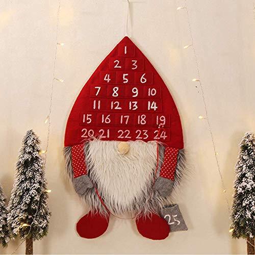 Dengofng Navidad Colgante Calendario Adviento Hombre Bosque Forma con 24 Numerados Bolsillos para Niños - 3D Cuenta Regresiva a Navidad Día Pared Colgante Salón Hogar Decoración - Rojo, Free Size