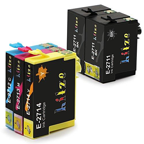 Hitze per Epson 27XL Cartucce d'inchiostro, 27 XL Compatibile per Epson WorkForce WF-3620DWF, WF-7610DWF, WF-3640DTWF, WF-7110DTW, WF-7620DTWF Stampante (2 Nero, 1 Ciano, 1 Magenta, 1 Giallo)