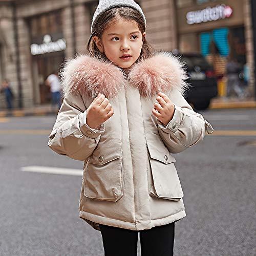 FDSAD Veste Chaude D'Extérieur pour Garçon, Nouvelle Version Coréenne du Manteau Épais pour Garçon, À Section Longue, Hauteur 100Cm Beige