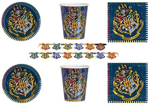 Party Store web by casa dolce casa Harry Potter Kit n° 11 CDC-8 Assiettes, 8 gobelets, 16 Serviettes, 1 Guirlande