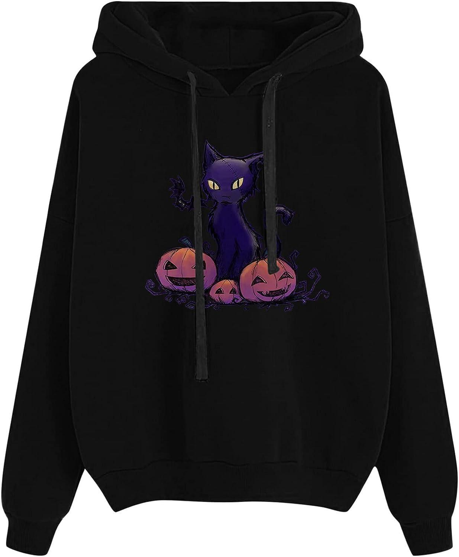 Halloween Pumpkin Cat Print Hoodies For Women Drawstring Long Sleeve Casual Loose Sweatshirt Tops With Pockets