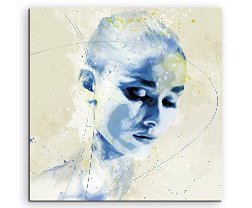 Audrey Hepburn IV Aqua 60x60cm - Splash Art Paul Sinus Wandbild auf Leinwand - Malerei, Kunstbild, Aquarell, Fineartprint