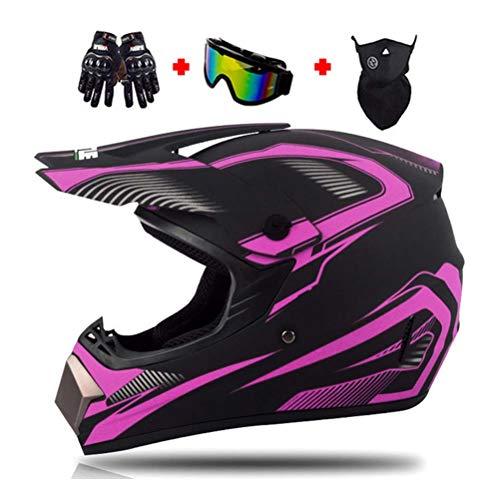 Motocross-Helm, Polyester Liner Motorradhelm Herren Cross-Helm mit Brille/Maske/Handschuhe, Motorrad Sports DH Enduro-Helm ATV MTB Quad Motorräder Off-Road-Helm für Männer Damen,B,M