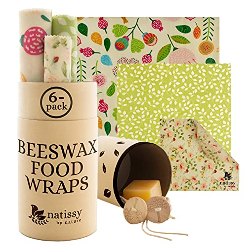 Beeswax Wraps for Food, Set of 6 Organic Bees Wax Paper for Bread, Cheese, Sandwiches; Reusable Bee Wax Wrap for Covering Bowls; Washable Beeswax Paper; Sustainable Beeswax Cloth Cover for Eco Kitchen