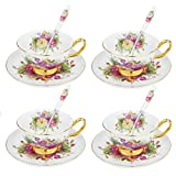 Porzellan 12-teilig Kaffeeservice Set, Teeservice aus Artvigor, mit je 4 Kaffeetassen 200 ml, Kaffeelöffel und Untertassen