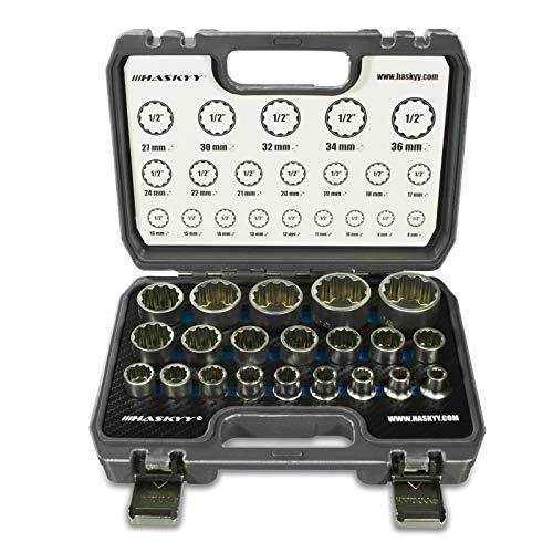 21tlg. HASKYY® Vielzahn Steckschlüssel Nusskasten 8-36mm 12 Kant - 6 Kant XZN Torx Stecknüsse Stecknuss Satz System