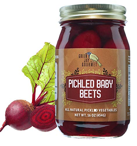 Green Jay Gourmet Fresh Classic Pickled Baby Beets - Grandma's Original Recipe - Sweet, Tangy, and Vinegary Brine - Simple Natural Ingredients - Freshly Made & Hand Jarred - 16 Ounce Jar