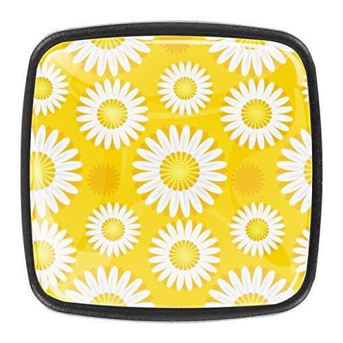 4 pomos cuadrados para puerta de armario de 30 mm con diseño de margaritas blancas y fondo amarillo con tornillos para armario tocador.