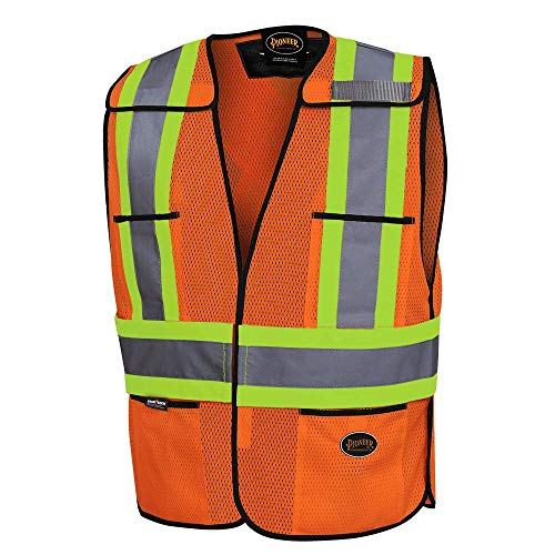 Pioneer Tear-Away Traffic High Visibility Safety Vest, Breathable, Orange, Universal, V1020750-O/S
