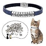 Johiux Collar Gato Personalizado, Collar para Gato con Número de Teléfono DIY Ajustable Collar Gato (Números: 4 Cada uno del 0 al 9). (Azul)