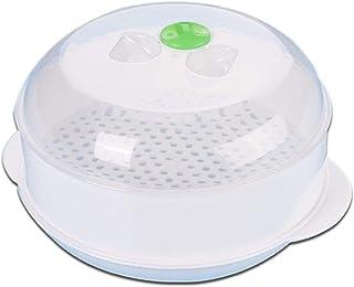 Olla para Microondas Vaporera Redonda De Plástico para Microondas para Cocción Al Vapor para Cocinar Al Vapor/Olla/envase De Alimento, Transparente, 21.518.212cm
