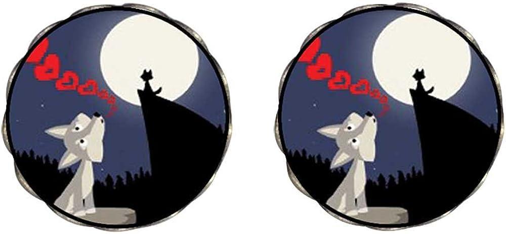 GiftJewelryShop Bronze Retro Style Wolf Professing Love At Night Clip On Earrings Flower Earrings #12