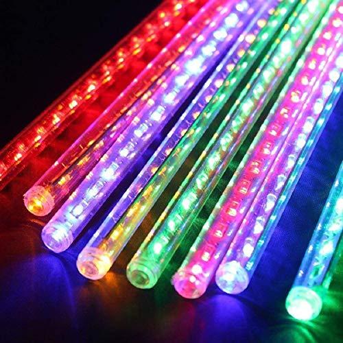 Meteorschauer Lichterkette Wasserdichte Meteor Shower Lichter mit EU Stecker für Garten/Hochzeit/Party/Weihnachten Dekoration (Bunt, 30 cm)