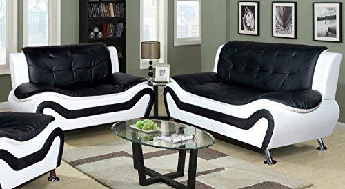 Beverly Fine Furniture 2 Piece Aldo Modern Sofa Set, Black & White