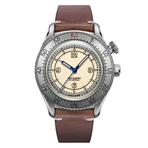 Undone Aero Scientific Herren-Armbanduhr, automatisch, Stahl, Vintage-Stil, cremefarben/braunes Leder