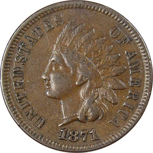 1871 Indian Head Cent XF EF Extremely Fine Bronze Penny 1c Coin Collectible
