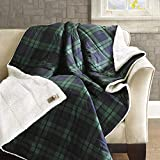 Woolrich Brewster Luxury Softspun Down Alternative Filled Throw Navy Green 50x70   Plaid Premium Soft Cozy Cozy Spun For Bed, Couch or Sofa