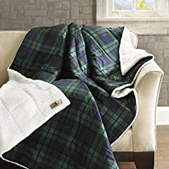 Soft spun reverse Sherpa , super soft and cozy warm , ideal for cuddling with in Bed, Couch and Sofa Classic Plaid pattern in cottage style , great décor for your bedroom or guest room Filled with Down alternative filling , provides more warmth in th...