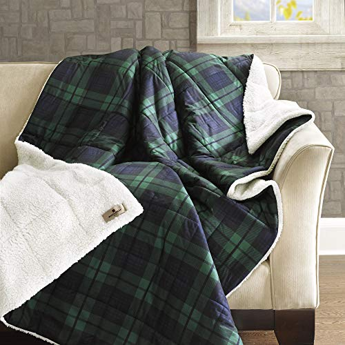 Woolrich Luxury Oversized Softspun Down Alternative Plaid Throw Premium Soft Cozy Spun for Bed, Couch or Sofa, 50x70, Brewster Blue
