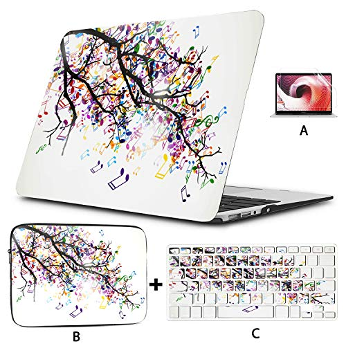 MacBook 13 Case Abstract Branch Colorful Music 2018 MacBook Pro Case Hard Shell Mac Air 11'/13' Pro 13'/15'/16' with Notebook Sleeve Bag for MacBook 2008-2020 Version