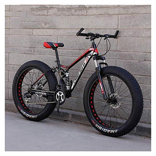ZHTY Adult Mountain Bikes, Fat Tire Dual Disc Brake Hardtail Mountain Bike, Big Wheels Bicycle, High-carbon Steel Frame Mountain Bike