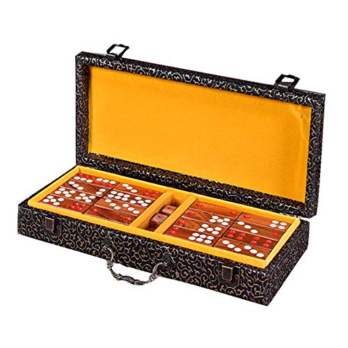 EXCLVEA Mah-Jong Set Chinese Pai Gow Paigow Game Casino Fun Redwood Pai Gow Domino High-End Home Hong Kong Haushalt Mahjong Deluxe Retro Style, Rotholz, rot, 320×120×60mm