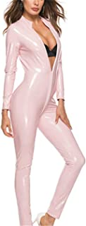 Evan Fordd lady jumpsuits PVC Leather Women Sexy Catsuit Zipper Open Crotch Long Sleeves Jumpsuit Zentai Catsuit Clubwear