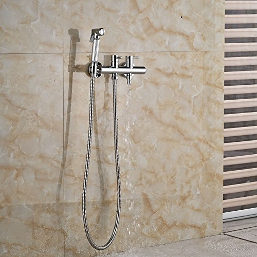 Affordable Chrome brass handheld shower bath rooms bidet faucet Wall Mount Dual Taps handles dishwas...