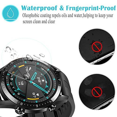Hotbon Panzerglas Schutzfolie kompatibel mit Huawei Watch GT 2 46mm, [3 Stück] Huawei Watch GT 2 46mm Nicht Panzerglas Folie Schutzfolie [Vollständige Abdeckung] [Blasenfreie] HD klar Flexible Folie - 4
