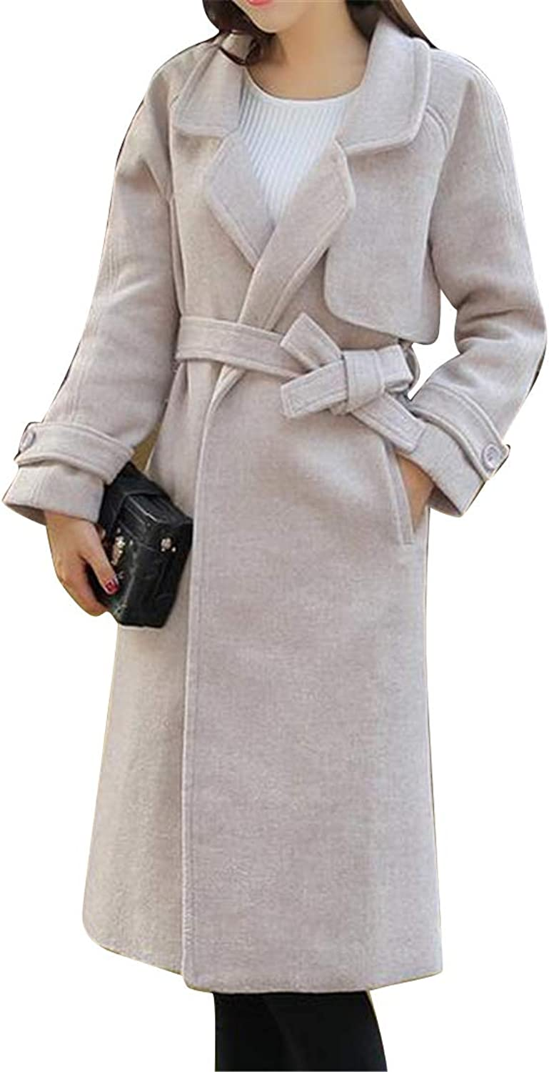 Suncolor8 Women Warm Solid color Wool Wlend Regular Fit Lapel Trench Pea Coat Overcoat