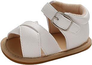 BBmoda Sandalias Bebe Niña Verano Zapatos con Suela Dura de Goma Primeros Pasos para Recién Nacido 0-18 Meses Princesa