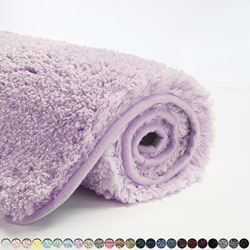 Suchtale Bathroom Rug Non Slip Bath Mat for Bathroom (16 x 24, Lavender) Water Absorbent Soft Microfiber Shaggy Bathroom Mat Machine Washable Bath Rug for Bathroom Thick Plush Rugs for Shower