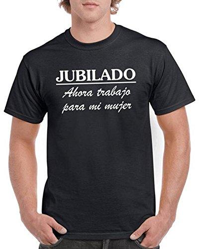 Camisetas divertidas Child Jubilado Ahora Trabajo para mi Mujer - para Hombre Camisetas Talla Large Color Negro