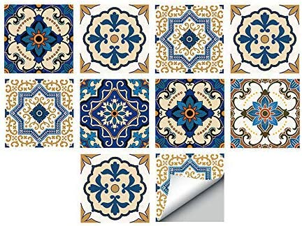 Alwayspon Self-Adhesive Wall Tile Decals, Peel and Stick Tile Stickers, Waterproof Backsplash Stickers for Kitchen Bathroom Decor, 6x6inch 10Pcs, Moroccan 029