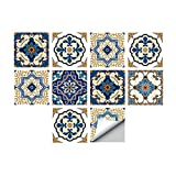 Alwayspon Plaza de Vinilo Azulejos, Auto Adhesiva Pared de la Etiqueta engomada del azulejo para la decoración casera, 10 Piezas Watercolor 15x15cm (Moroccan, 20x20cm)