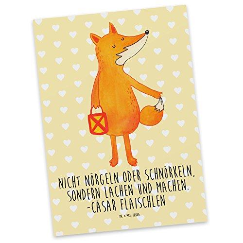 Mr. & Mrs. Panda Einladung, Grußkarte, Postkarte Fuchs Laterne mit Spruch - Farbe Gelb Pastell