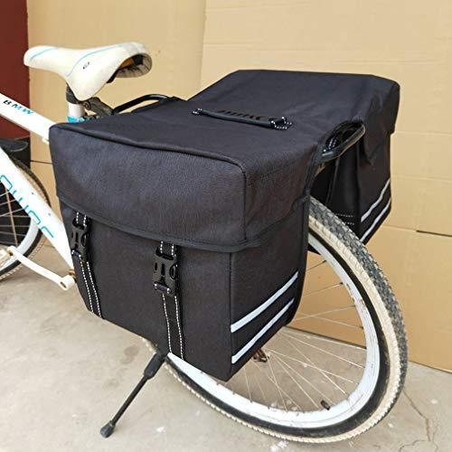 YUYAXBG achterfietstas modern 2 in 1 fietstas fietstas fietstas grote capaciteit geschikt voor alle soorten fietsen met achterbank, zwart