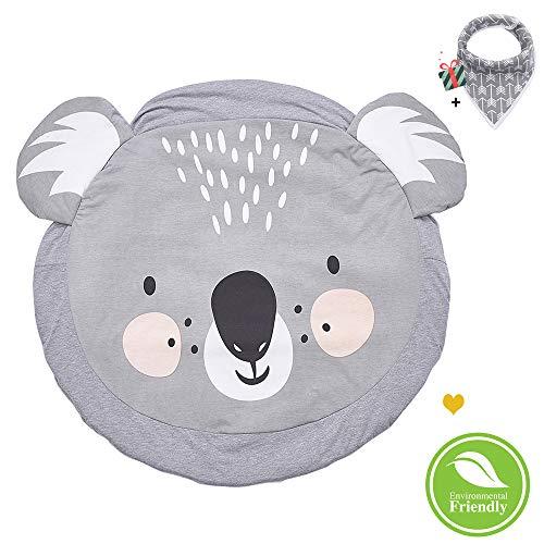 Morbuy Krabbeldecke für Baby Rund, Weiche Baumwolle Kinderteppich Gepolstert Kinder Schlafbereich Teppich Kuschelige Spielmatte Dekoration für Kinderzimmer Crawl Spielmatte (Koala)