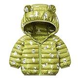 Bebés Abrigos de Invierno Chaqueta Ligera para Niños con Encapuchado Bebé Niños Niñas Ropa de Calle Verde 6-12 Meses