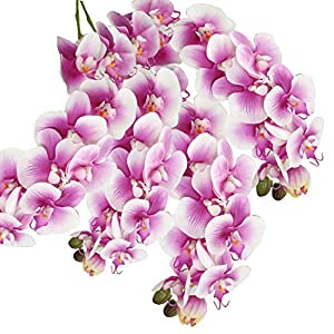 cn-Knight Tropical Artificial Flower 4pcs 28″ Long Stem Butterfly Orchid Big Size Lifelike Phalaenopsis Real Touch Moth Orchid for Wedding Bridal Home Décor Baby Shower Centerpiece(Light Purple)