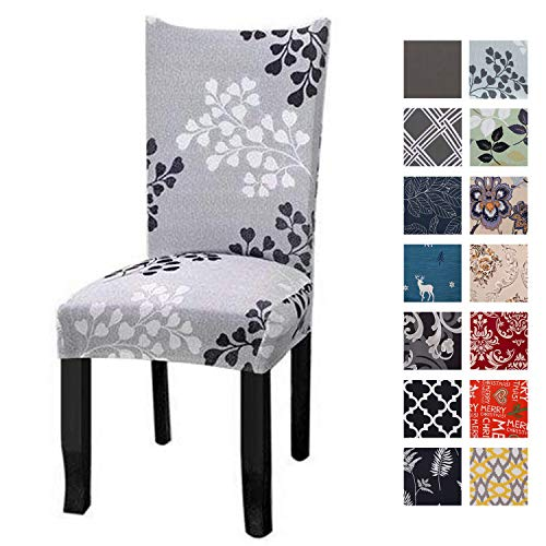 Printed Dining Chair Slipcovers, Removable Washable Soft Spandex Stretch Chair Covers Banquet Chair Seat Protector Slipcover for Kitchen Home Hotel (Set of 6, Light Green)