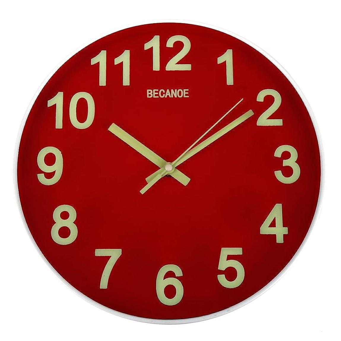 確認妖精関係ないBECANOE 壁掛け時計 夜光 連続秒針 サイレント ウォールクロック 掛け時計 インテリア レッド