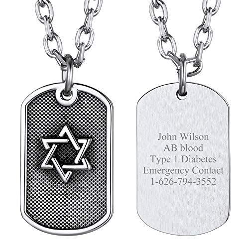 Customizable Hexagram Necklace Dog Tag Pendant Personalized Text/Name/Anniversary/Number Gift For Girlfriend Stainless Steel Jewish Jewellery For Women Girls Judaism Talisman Chain David Star Necklace