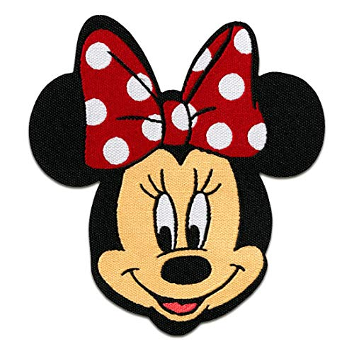 Minnie Mouse Disney cmico nios  rojo  6,5x7,5cm - Parches termoadhesivos bordados aplique para ropa, tamao: 6,5 x 7,5 cm
