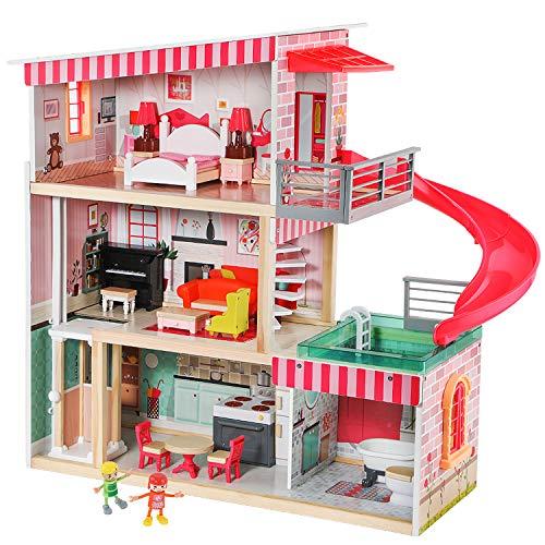 TOP BRIGHT Puppenhaus mit Möbeln und Puppen, Puppenhaus Holz für Mädchen 3 4 5 Jahre, 18 Möbel mit Licht und Geräuschen