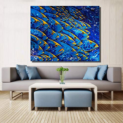 Muur foto's voor de woonkamer dieren schilderij blauwe vis canvas kunst olieverfschilderij leven in het water home decor c 50x75cm geen frame