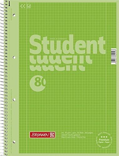 Brunnen 1067928152 Notizblock / Collegeblock Student Colour Code (A4 kariert, Lineatur 28, 90 g/m², 80 Blatt) grün